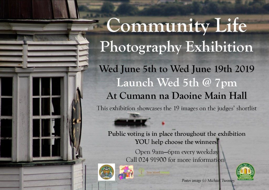 clock tower and boats on the water. Exhibition dates Weds June 5th - June 19th. Community Life photo exhibition: poster photograph by Michael Twomey